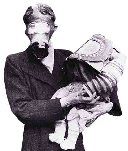 Gas masks demonstrated for babies in Edinburgh circa 1940