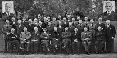 Sidlow Baxter with the office-bearers (elders and deacons) of Charlotte Chapel in Charlotte Square Gardens in 1952.