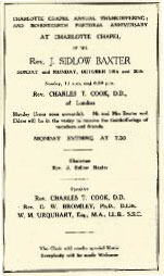 October 1952 was Sidlow Baxter's seventeenth and last anniversary weekend in the Chapel.
