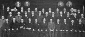 The Chapel elders and deacons in the Ter-jubilee year. Insert left: George Davidson, Donald Cormack. Insert right: Norman Hunt, John McGuiness Back row: David Murray, Tom Sim, Jack Oliphant, John Coutts, John Balmer, Robert Hadden, David Petrie, Peter Armstrong, Jim Hudson, George Rae, William Tullis. Second row: William Somerville, David Wallace, Robin White, Oscar Barry, Robert Findlater, William Tregunna, Douglas Macnair, Jim Cossar, Jack Cochrane, Charles Steele, John McGregor, Tom Currie. Front row: Jim Purves, Jim Paterson, Peter Murray, Robert Clark, MacDuff Urquhart, Gerald Griffiths, Robert Aitken, David Blair, George Rae, David Jenkins, John Whitlie.