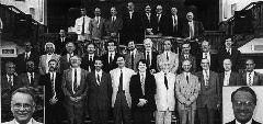Elders and deacons at the end of the vacancy, August 1992. Tim Prime, Derek Liddell, Ian Finlayson, Jim Landels, Donald Cameron, Sid Harrison, Philip Murray, Harry Robertson, Bill Walker, John Grant, John Shepherd, Angus Ferguson, Derek Finlayson, Johnny Prime, Barry Sprott, Bryce Crawford, David Whitlie, Albert Peterson, Robert Shaw, Robert Naysmith, Alastair Hay, Norman Wallace, Norman Wilson, Adrian Todd, Stewart McLeod, Ian Balfour, Jonathan Bartlett, George Haig, Russ Murray, David Fairlie, David Dennis, Jim McCall, (inset left) Eric Smith (inset right) George Nash.