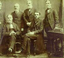Owen Campbell and his five elders in 1883. Left to right: John E. Dovey (treasurer), John Anderson (secretary), R. A. Roberts, Alexander Picken, Campbell and John Walcot.