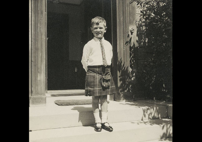 Ian outside Lomond House, York Road, 1937