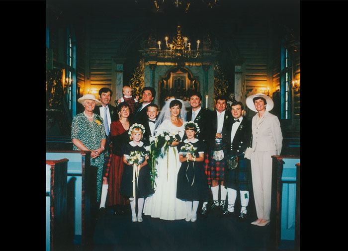 Sandy and Christina's wedding, Oslo, September 1995: Joyce, Ian, Frances Balfour, James Balfour, Alison Tait, Robin Balfour, David Tait, Christina, Sandy, Janny Tait, Jeremy Balfour, Graeme Tait, Lesley Tait