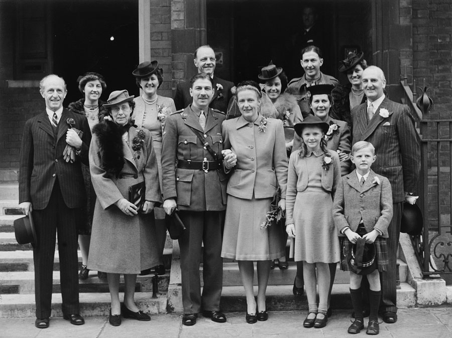 Ross Durie's wedding, 1945: Kathleen's father, Joanna Durie, Kathleen's mother, Jessie Pryde, Ross Durie (bridegroom), Walter Pryde, Kathleen (bride), Isobel Durie, Andrew Durie, friend of Kathleen, Joyce Pryde, Helen Harkness, James Armstrong (solicitor, Edinburgh; Ross went into partnership with him), George Pryde